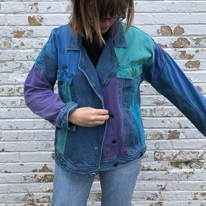 80s/90s multi-colored jean jacket